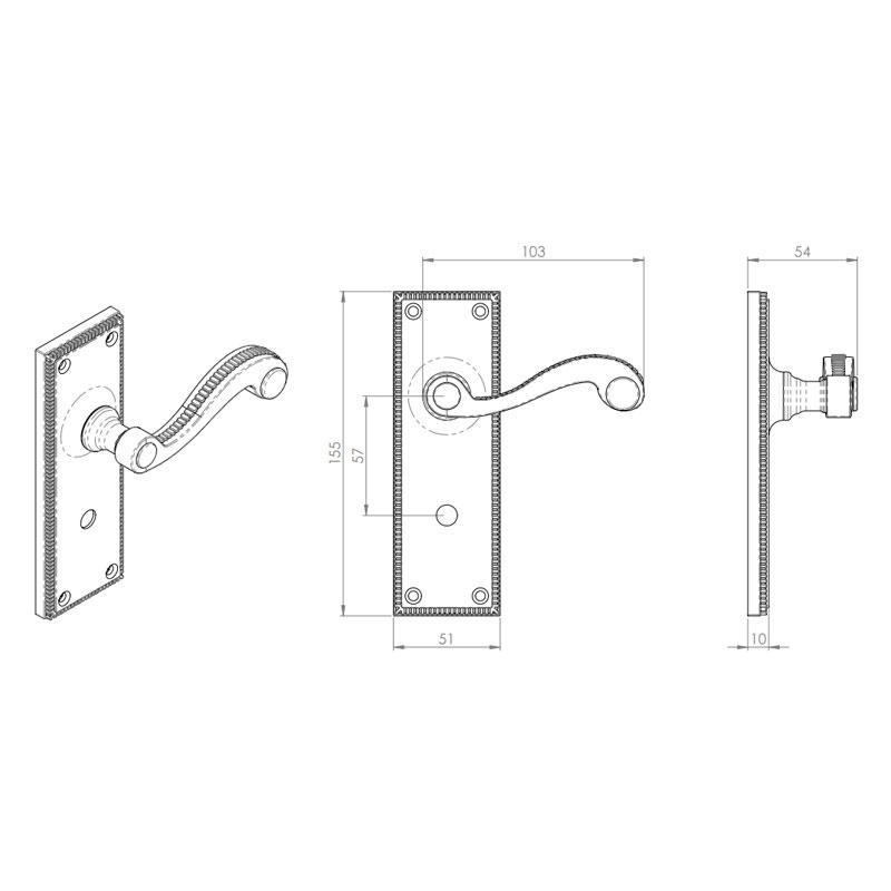 Diagram Image for Z602 Georgian Scroll Solid Brass Bathroom Door Handle