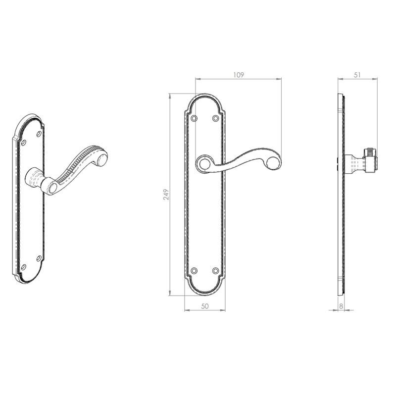 Diagram Image for Z603 Georgian Lever Latch Solid Brass Door Handle