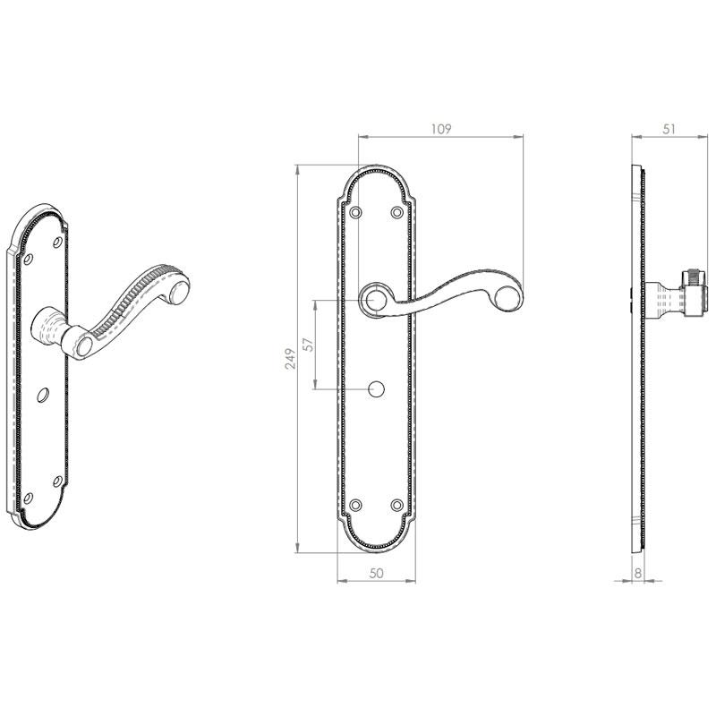 Diagram Image for Z606 Georgian Bathroom Solid Brass Door Handle