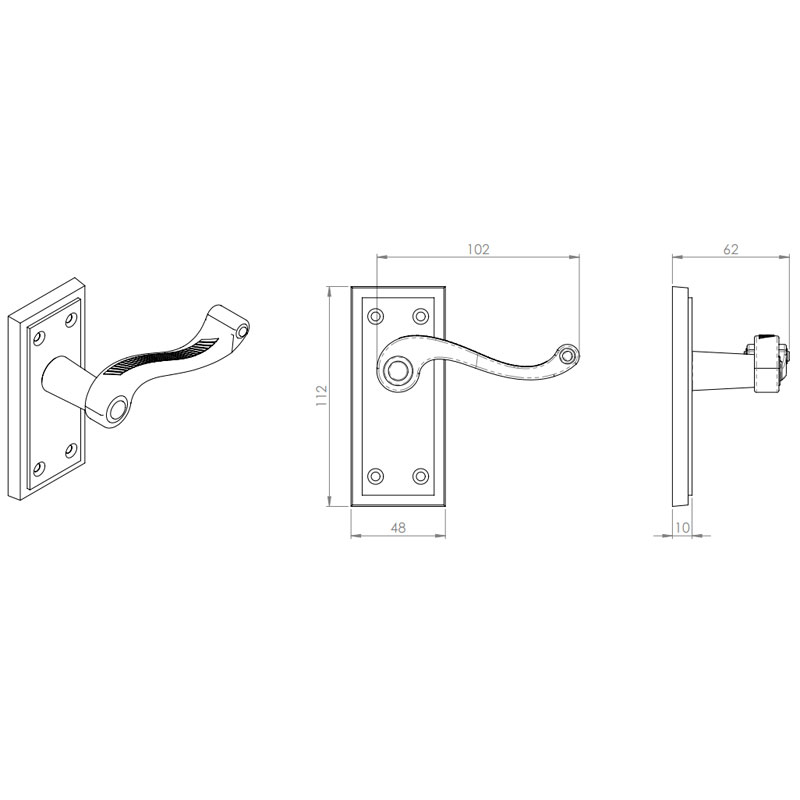 Diagram Image for Z607 Squared Georgian Lever Latch Solid Brass Door Handle