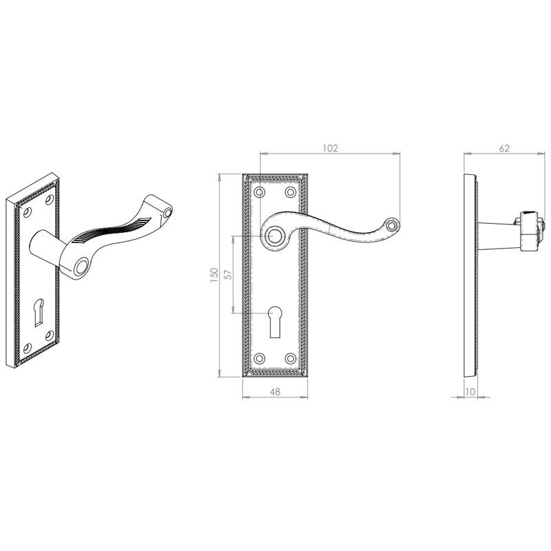 Diagram Image for Z608 Squared Georgian Lever Lock Solid Brass Door Handle