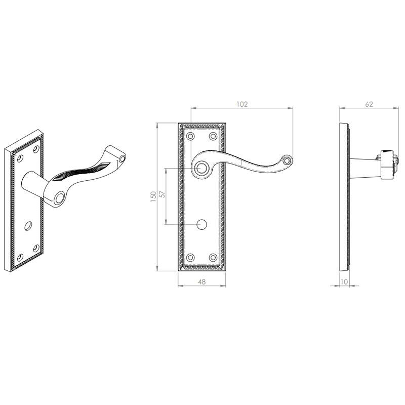 Diagram Image for Z610 Squared Georgian Bathroom Solid Brass Door Handle