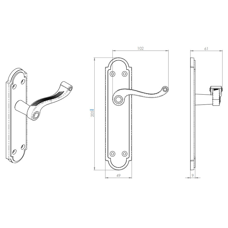 Diagram Image for Z612 Georgian Shaped Lever Latch Solid Brass Door handle