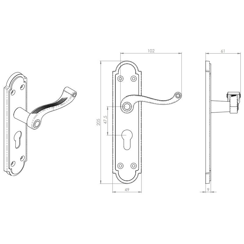 Diagram Image for Z614 Georgian Shaped Euro Lock Solid Brass Door Handle