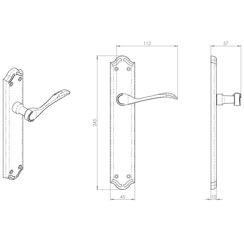 Diagram Image for Z619 Madrid Lever Latch Solid Brass Door Handle