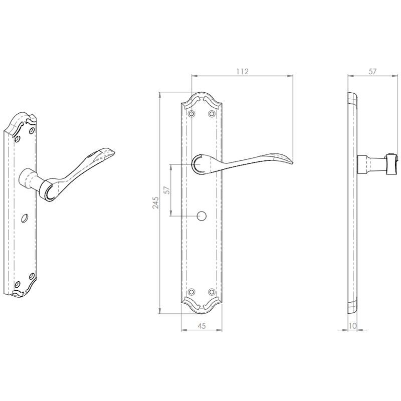 Diagram Image for Z621 Madrid Solid Brass Bathroom Door Handle