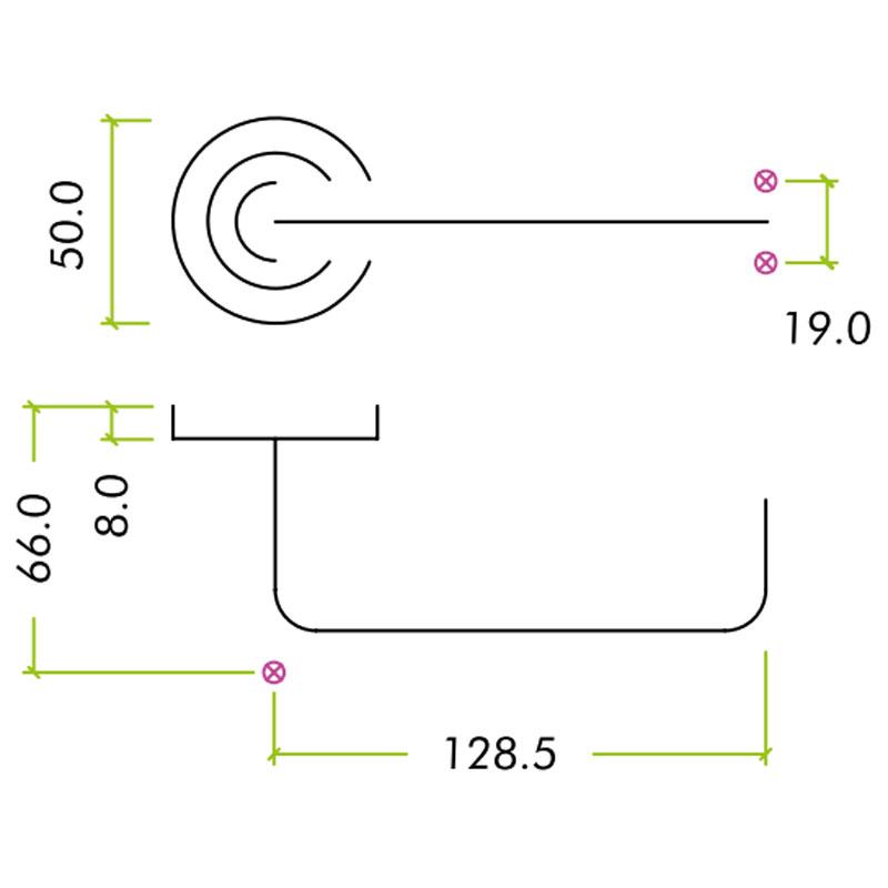 Diagram Image for Z626 RTD Lever Rose Solid Brass Door Handle