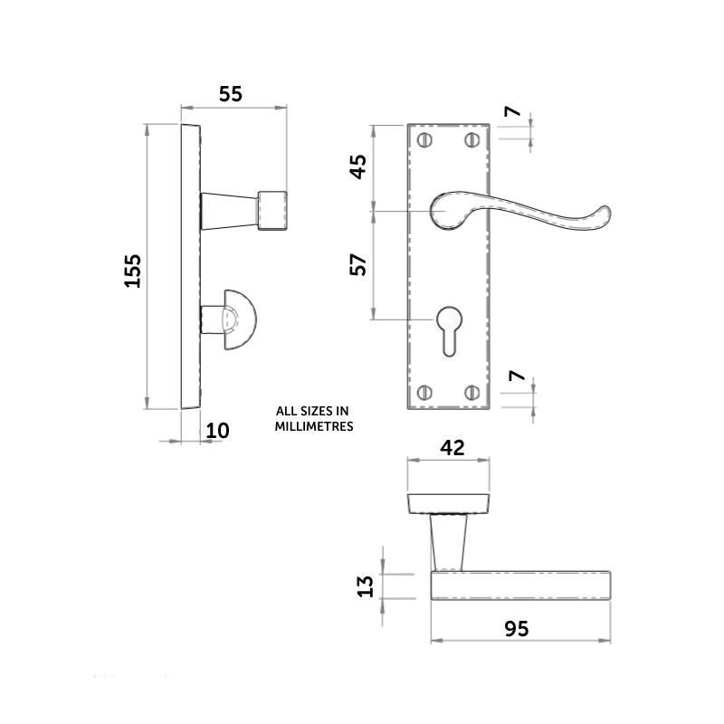 Diagram Image for Z705 Budget Victorian Scroll Locking Door Handle