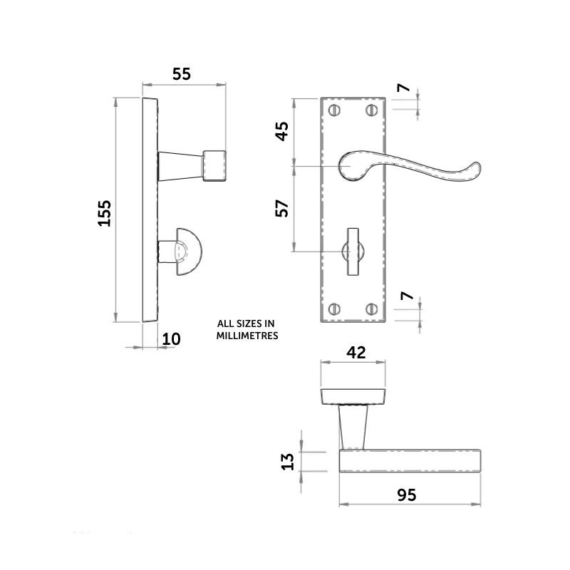 Diagram Image for Z708 Budget Victorian Scroll Bathroom Door Handle