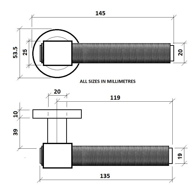 Diagram Image for Z721 Knurled Lever Collar Door Handle