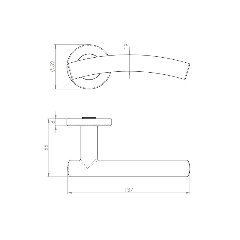 Diagram Image for Z74 Arched Lever Rose Door Handle
