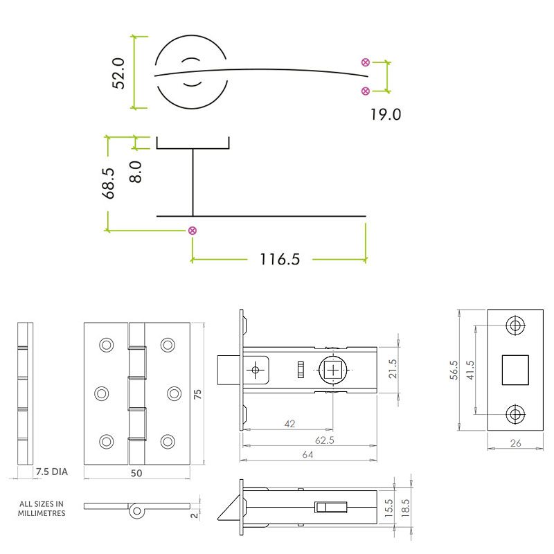 Diagram Image for Z74 Arched Lever Door Handle Packs