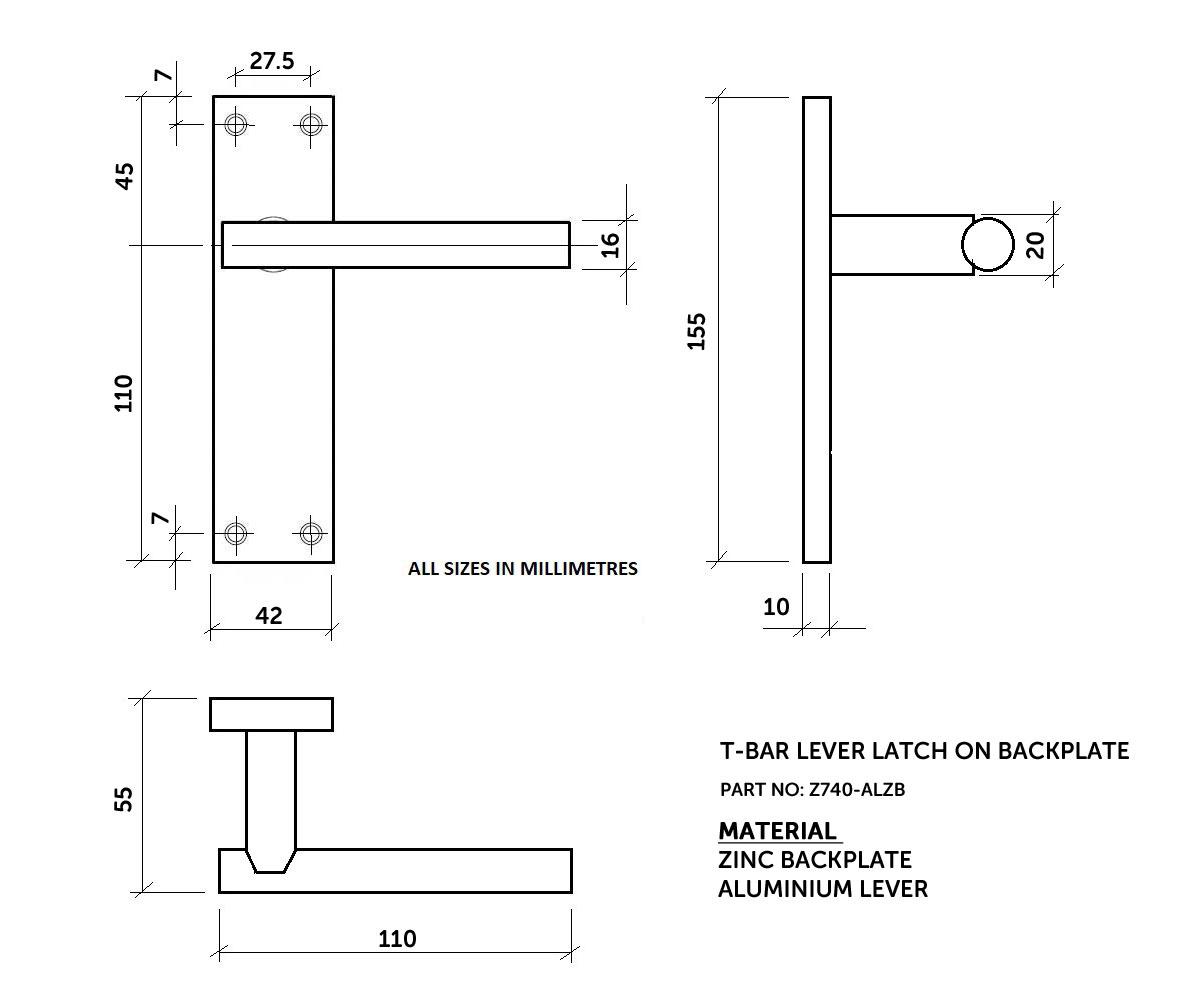 Diagram Image for Z740 T-Bar Lever Backplate Latch Door Handle