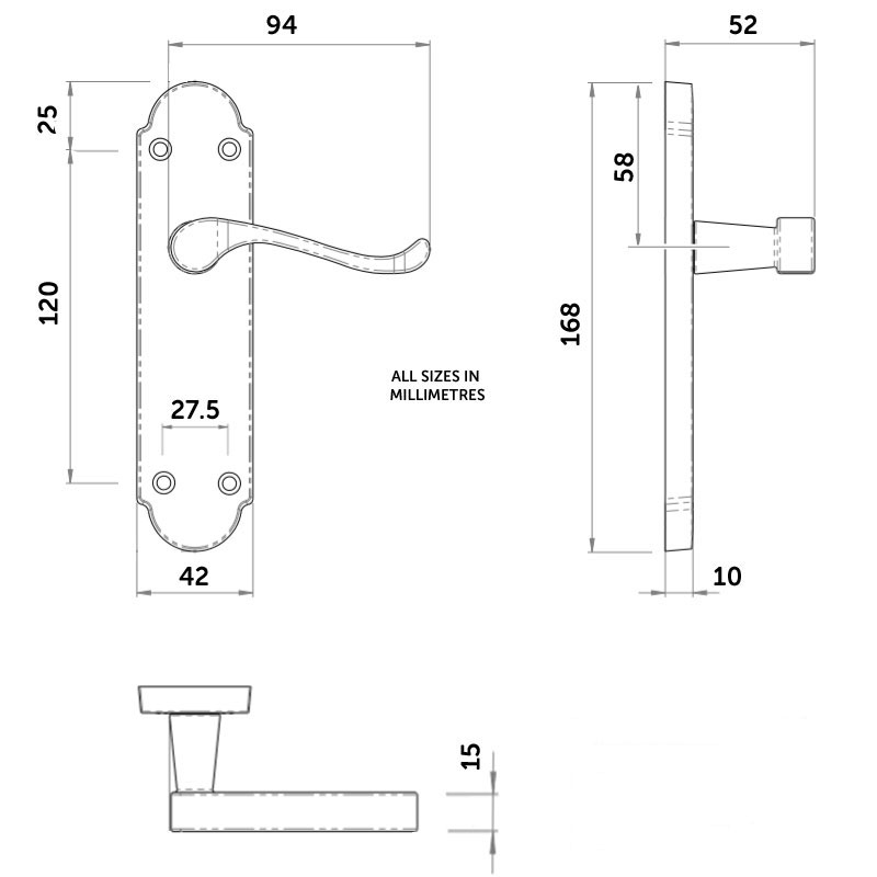 Diagram Image for Z75 Shaped Scroll Latch Door Handles