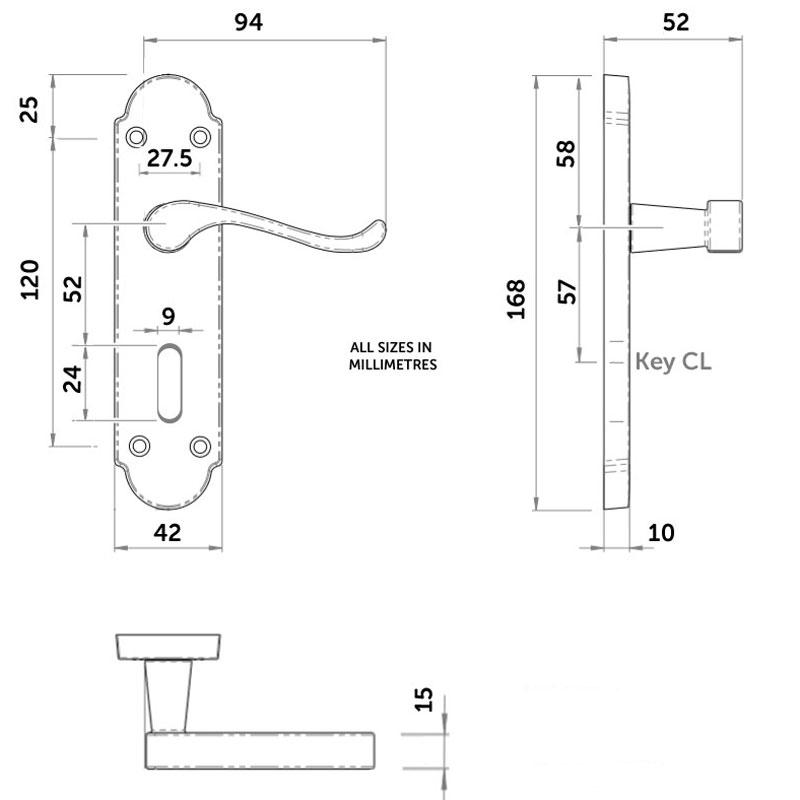 Diagram Image for Z76 Shaped Scroll Lock Door Handles
