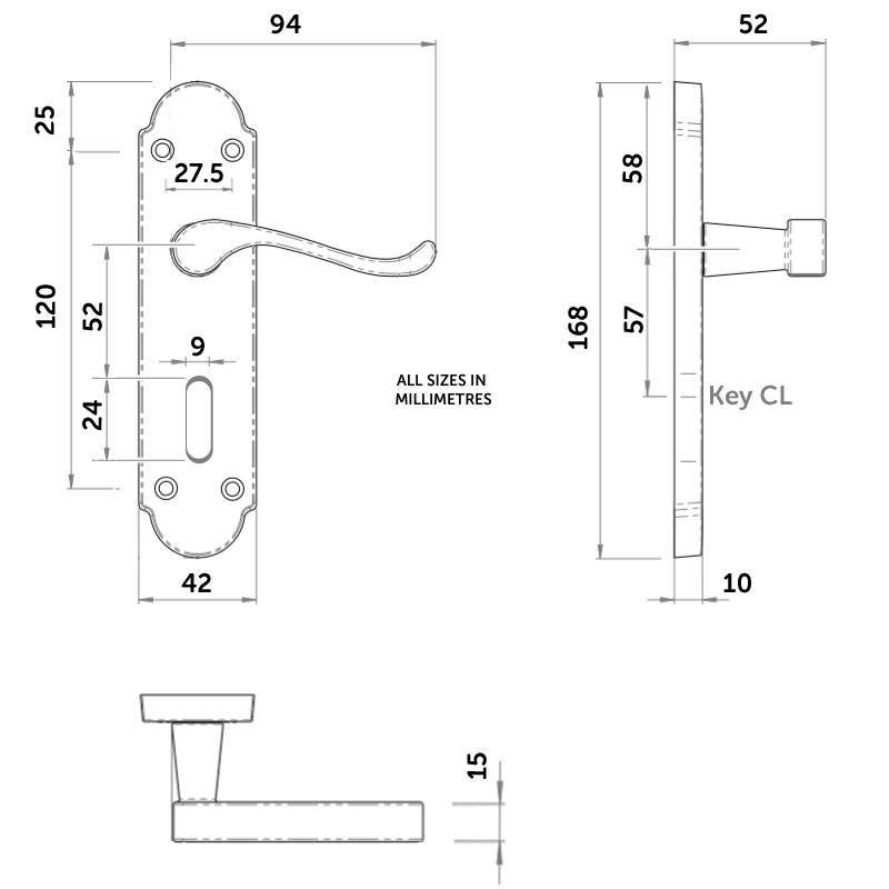 Diagram Image for Z776 Budget Shaped Scroll Locking Door Handle