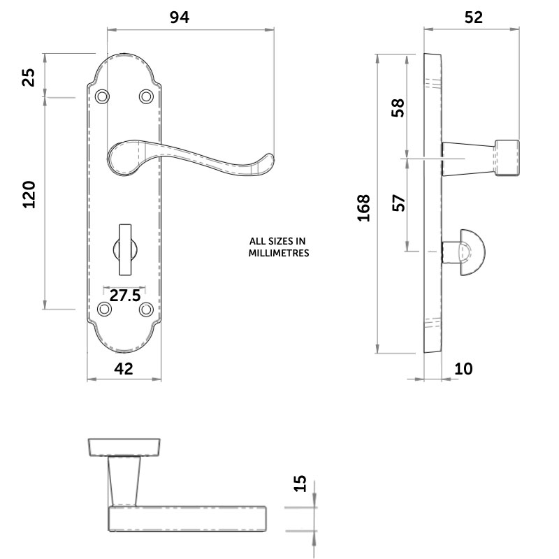 Diagram Image for Z777 Budget Shaped Scroll Bathroom Door Handle