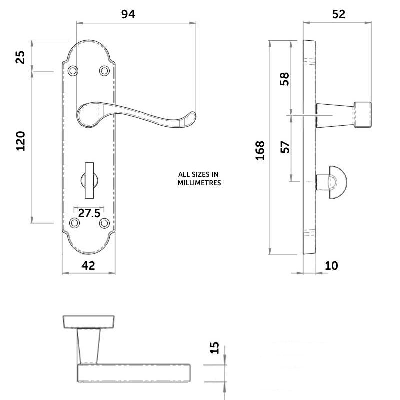 Diagram Image for Z77 Shaped Scroll Bathroom Door Handles