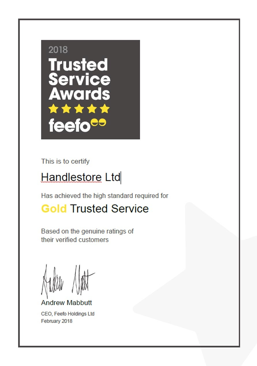 Feefo certificate 2018