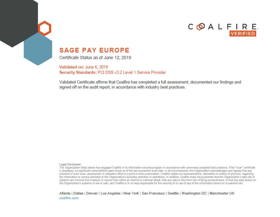 Sagepay PCI certificate
