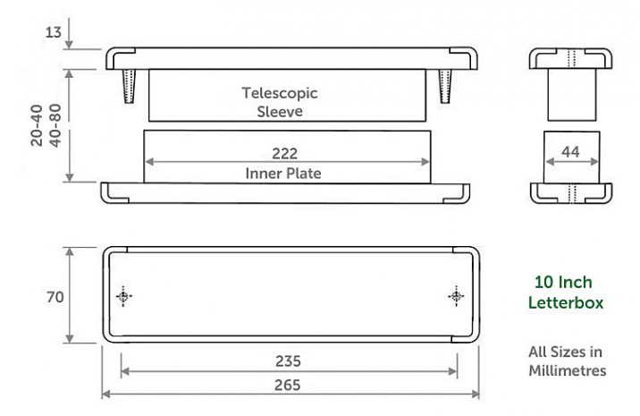 replacement sizes for replacement 10 inch upvc letterbox
