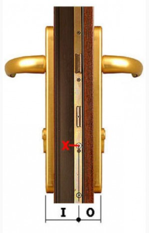 Measurement sizes for the euro lock shown on the edge of the door.