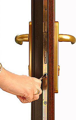 where a euro cylinder screw is in a upvc door