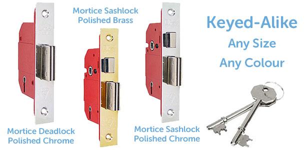 5 Lever Keyed Alike Mortice Locks in a deadlock and sashlock version.